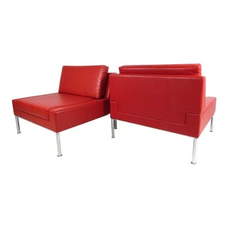 Pair of Modern Style Vinyl and Chrome Slipper Chairs For Sale