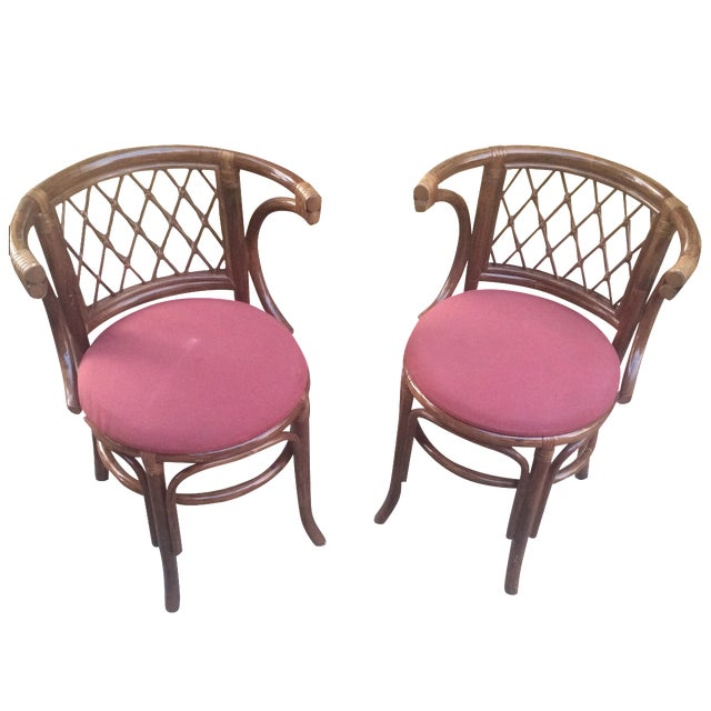 Rattan Bamboo Chairs - A Pair - Image 1 of 4