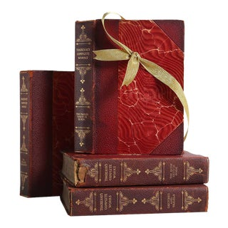 Vintage Book Gift Set: Weathered Leather Travel Books, S/4