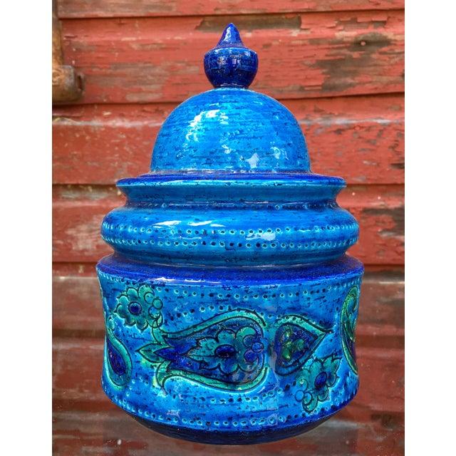 Folk Art Vintage Mid-Century Modern Bitossi Blue Art Pottery Lidded Jar For Sale - Image 3 of 8