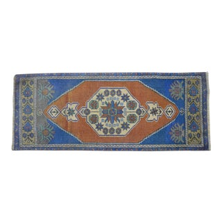 Distressed Low Pile Turkish Yastik Petite Rug Hand Knotted Faded Mat - 1'6'' X 3'10'' For Sale