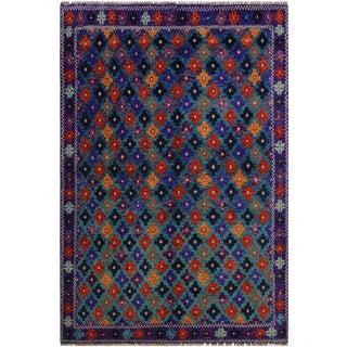 "Balouchi Alexandr Blue/Orange Wool Rug - 5'5"" X 7'4"" For Sale"