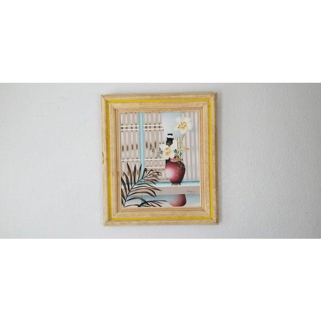 Mid-Century Modern 80s Reibel Postmodern Still Life Painting For Sale - Image 3 of 13