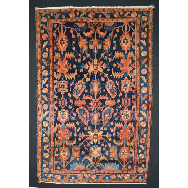 """Navy & Peach Antique Persian Rug - 4'4"""" x 6'8"""" - Image 2 of 6"""
