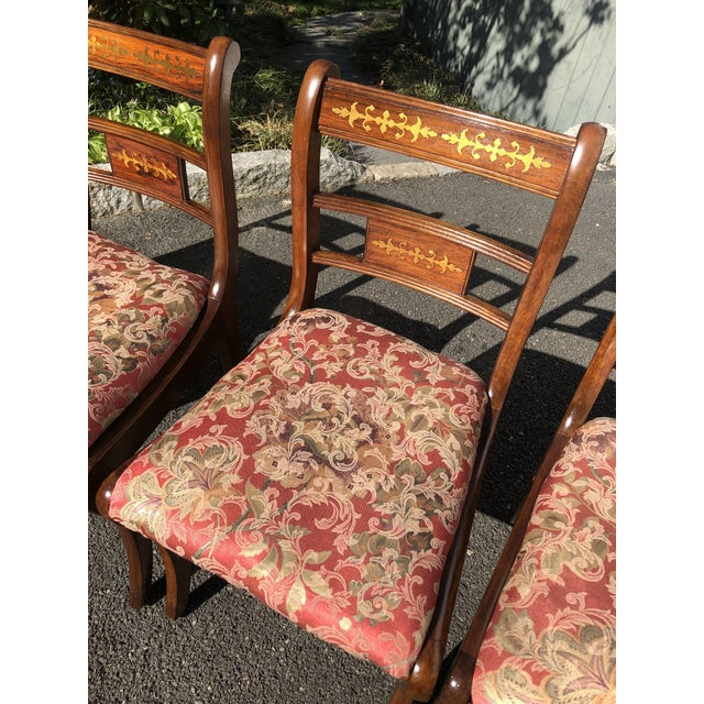 1920s 1920s Vintage English Regency Style Brass Inlaid Dining Chairs- Set of 4 For Sale - Image 5 of 13