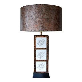 Mid-Century Brutalist Hammered Copper & Tiled Table Lamp W/ Custom Fiberglass Shade