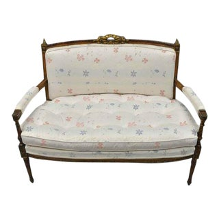 1950s Vintage French Louis XVI Directoire Style Settee For Sale