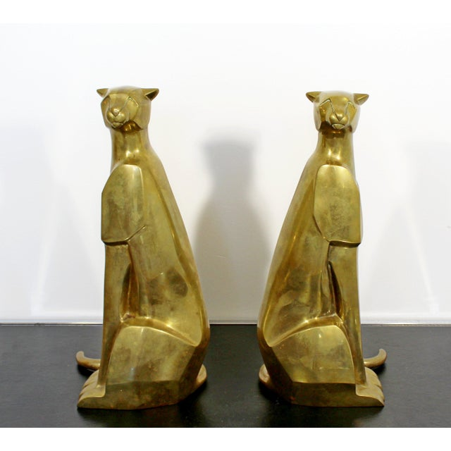 Mid-Century Modern Mid Century Modern Pair of Bronze Brass Cheetah Cat Table Sculptures For Sale - Image 3 of 12
