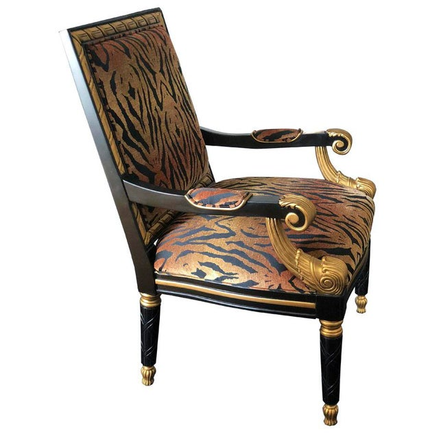 Tiger Pattern Empire Style Chair For Sale In Houston - Image 6 of 8