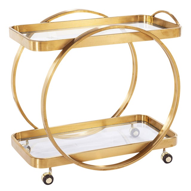 Golden Steel Glass Shelves & Rolling Caster Bar Cart - Image 1 of 4