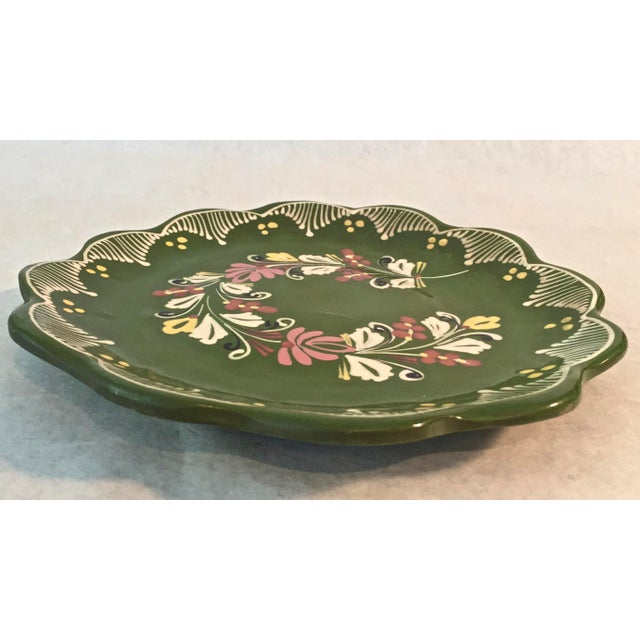 Beautiful vintage hand painted Plate for hanging pink, greenand white.