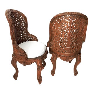 Ornate Anglo Indian High Back 'Tree of Life' Fruitwood Side or Accent Side Chairs - a Pair For Sale