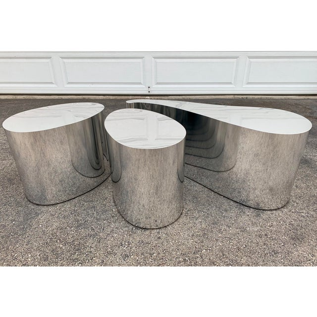 1980s Modern Organic Shape Chrome Tables - Set of 3 For Sale - Image 11 of 11