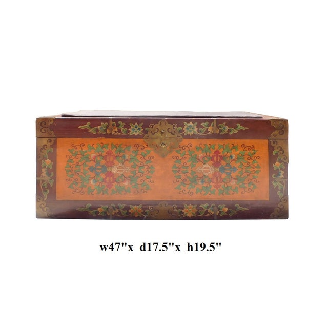 Floral Orange Brown Wood Trunk Bench Ottoman - Image 6 of 6
