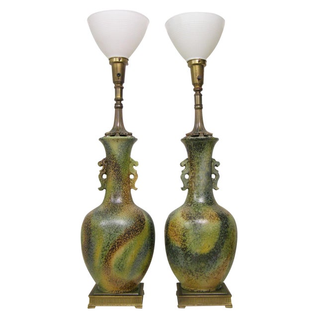 Pair Mid-Century Modern Asian Ceramic Pottery Lamps Green MCM James Mont Style For Sale