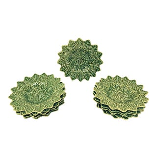 Handmade in Portugal Ceramic Leaf Plates by Bordallo Pinhero - Set of 11 For Sale