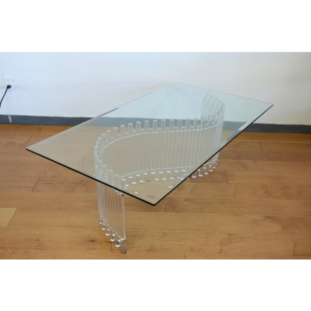 Contemporary Vintage Lucite Coffee Table For Sale - Image 9 of 10
