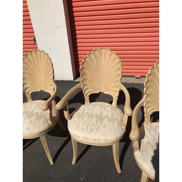 1960s Grotto Italian Carved Wood Seashell Shell Back Dining Chair For Sale - Image 5 of 12