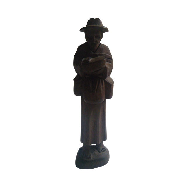 Vintage Handcarved Ecuadorian Wooden Farmer Statue - Image 1 of 4