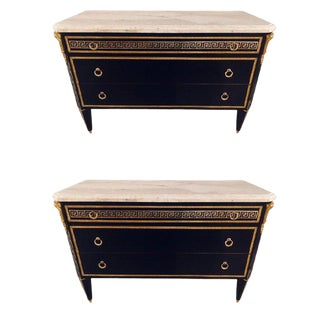 Pair of Ebonized Hollywood Regency Jansen Style Greek Key Marble-Top Commodes For Sale