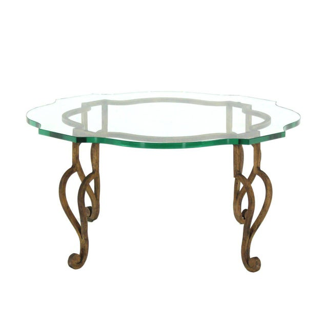 Early 20th Century Round Figural Wrought Iron Base Coffee Table with Thick Glass Top For Sale - Image 5 of 5