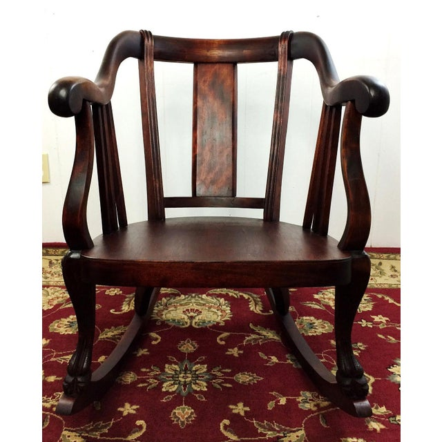 Antique Empire Barrel Back Claw Foot Mahogany Rocking Chair - Image 3 of 8
