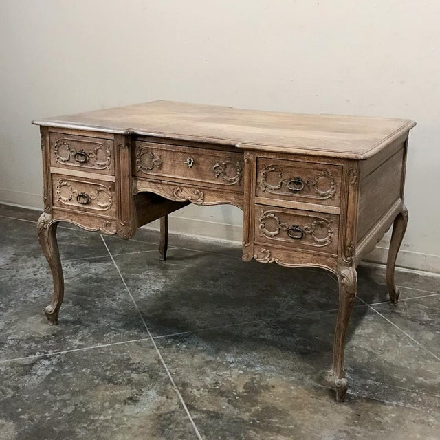 Gold Antique Country French Louis XV Stripped Oak Desk For Sale - Image 8 of 12