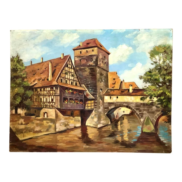 Impressionist Oil Painting of a Continental Townscape For Sale