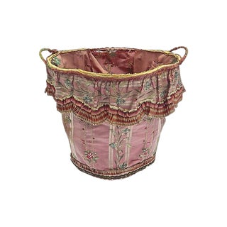 Antique Floral Silk Lined Wire Wastebasket