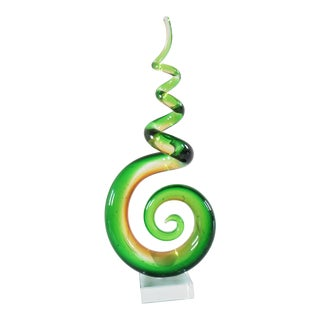 Contemporary Abstract Green Swirling Glass Sculpture For Sale