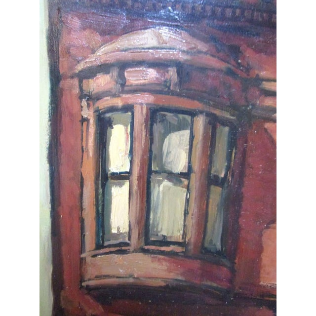 "Oil painting of a brownstone with voyeuristic habitant. Signed in the lower right corner, ""W. Zint '67."" Wade Zint was an..."