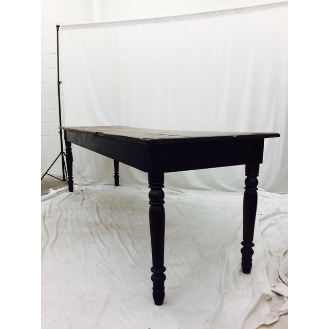 Brown Antique Harvest Farm Table For Sale - Image 8 of 11