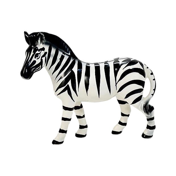 Italian Handmade Zebra Figurine For Sale