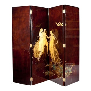 French Brown & Gold Painted Screen