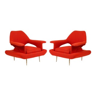1960s Vintage Sculptural Italian Lounge Chairs- A Pair For Sale