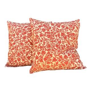 1980s Vintage English Linen Vines Pillow Covers- Pair For Sale