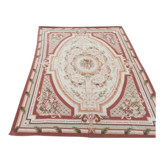 Room Size Wool Needlepoint Aubusson Rug - 9' x 12'