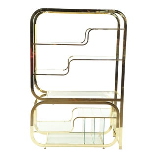 Milo Baughman Brass Étagère With Glass Shelves For Sale