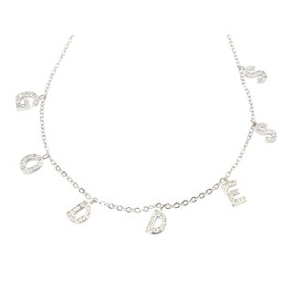 Goddess Initial Name Sterling Silver & Crystal Necklace For Sale