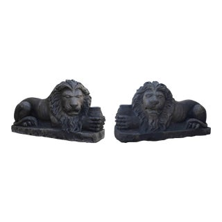 Antique Limestone Lions, circa 1850 - A Pair For Sale