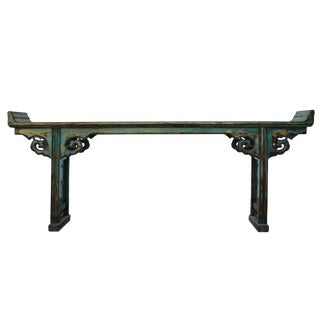 Oriental Distressed Long Teal Blue Scroll Apron Altar Console Table For Sale