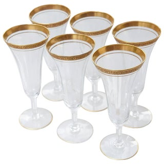Early 20th Century Set of 6 Floral Gilt Rimmed Bohemia Crystal Champagne Flutes For Sale