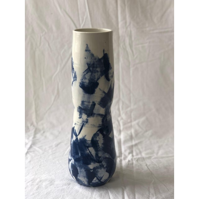 2010s Contemporary Ceramic Tall Curvy Cobalt Slip Vessel For Sale - Image 5 of 5