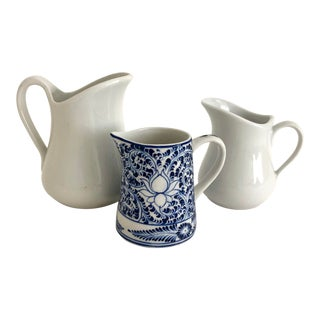 Vintage French Ironstone Pitcher Grouping - Set of 3 For Sale