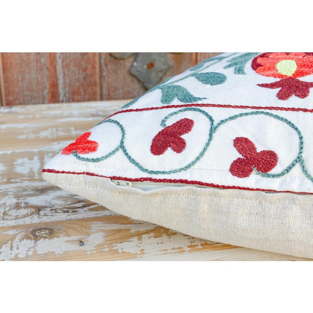 Textile Jhui Coral Floral Suzani Pillow For Sale - Image 7 of 10