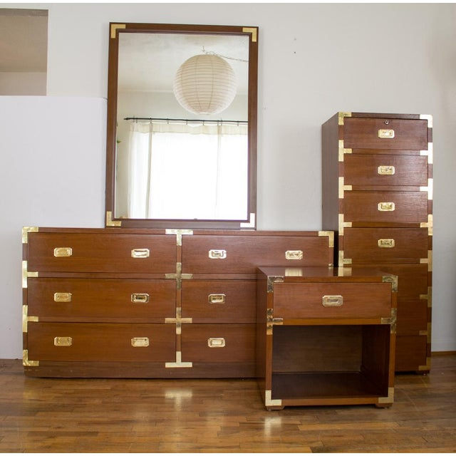 Mid Century Low Boy Campaign Dresser with Detachable Mirror For Sale - Image 6 of 11