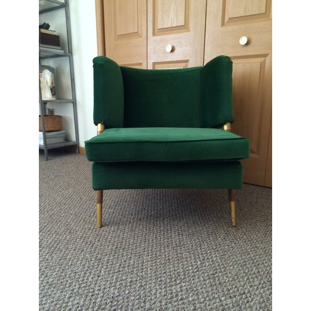 Mid-Century Modern Mid-Century Emerald Velvet Chair For Sale - Image 3 of 7