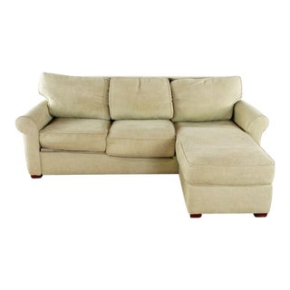 Contemporary Crate & Barrel Beige Upholstered Sectional Sleeper Sofa For Sale