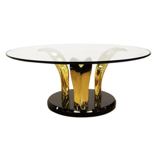 1970s Mid Century Modern Palm Leaf Glass Brass Black Coffee Table