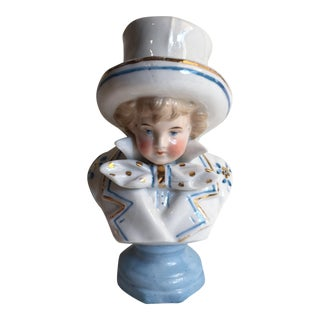 Victorian Hand-Painted Ceramic Boy Portrait Bust For Sale